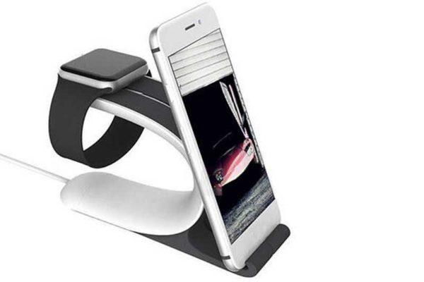 Bridge94 Apple Watch Ladestation mit Kabelführung und Stand für iPhone ode iPad, grau-weiss