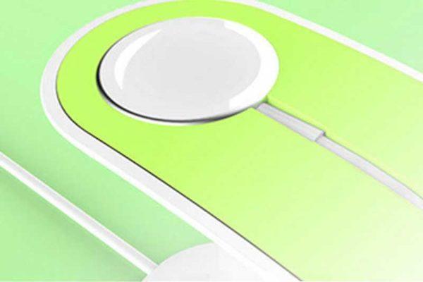 Bridge94 Apple Watch Ladestation mit Kabelführung und Stand für iPhone ode iPad, grün-weiss