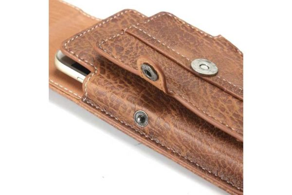 Bridge94 iPhone 6/7/8 Plus Gürtel-Holster-Tasche vertikal mit 3 Kreditkartenfächern, dunkelbraun strukturiert