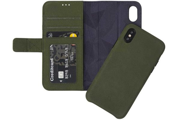 Decoded iPhone X Premium Leder Wallet mit herausnehmbarem Backcover, dunkelgrün