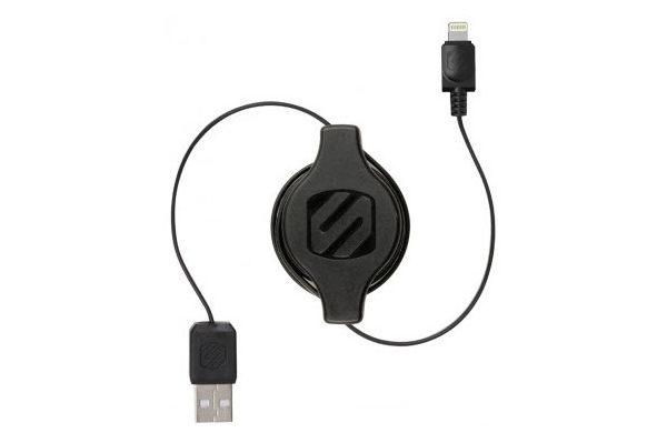 Scosche strikeLINE pro - Ausziehbares USB - Lightning Connector Kabel für alle iPad, iPhone & iPod mit Lightning-Anschluss, 90 cm, schwarz