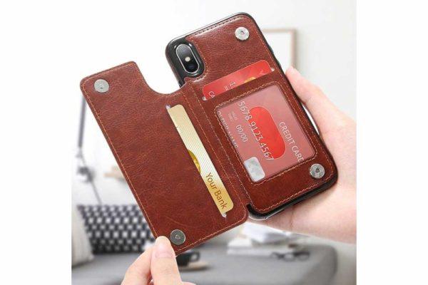 Bridge94-Retro-PU-Leder-Case-Huelle-Kartenhalter-Abdeckung-iPhone-X-6-s-7-8-Plus-XS-XR-10