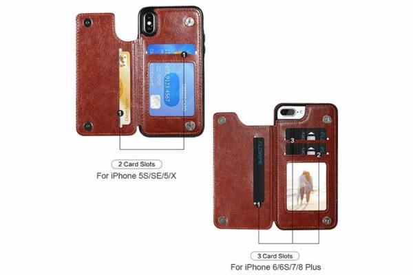 Bridge94-Retro-PU-Leder-Case-Huelle-Kartenhalter-Abdeckung-iPhone-X-6-s-7-8-Plus-XS-XR-9