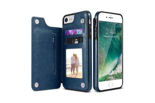 Bridge94-Retro-PU-Leder-Case-Huelle-Kartenhalter-Abdeckung-iPhone-X-6-s-7-8-Plus-XS-XR-blau
