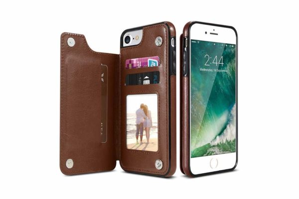 Bridge94-Retro-PU-Leder-Case-Huelle-Kartenhalter-Abdeckung-iPhone-X-6-s-7-8-Plus-XS-XR-braun