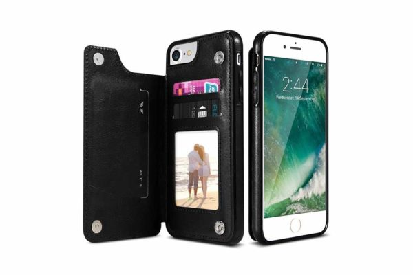 Bridge94-Retro-PU-Leder-Case-Huelle-Kartenhalter-Abdeckung-iPhone-X-6-s-7-8-Plus-XS-XR-schwarz