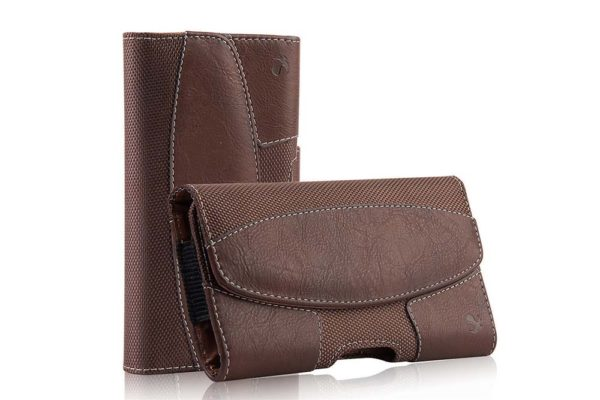 Bridge94-iPhone-6-6S-7-8-Plus-Gürtelholster-tasche-horizontal-braun-strukturiert
