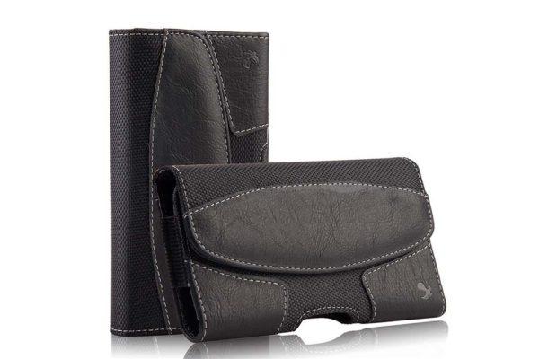 Bridge94-iPhone-6-6S-7-8-Plus-Gürtelholster-tasche-horizontal-schwarz-strukturiert