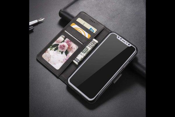 Bridge94-iPhone-Xs-Max-Flip-Leder-Etui-Magnetverschluss-Kreditkartenfaecher-Standfunktion-anthrazit