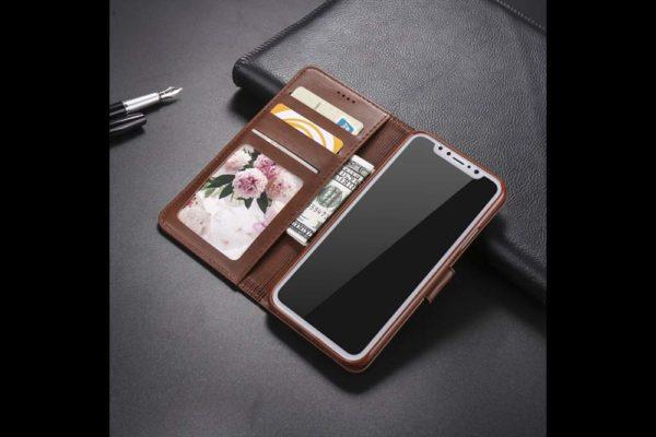 Bridge94-iPhone-Xs-Max-Flip-Leder-Etui-Magnetverschluss-Kreditkartenfaecher-Standfunktion-dunkelbraun-2