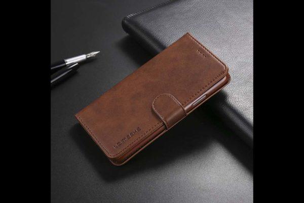 Bridge94-iPhone-Xs-Max-Flip-Leder-Etui-Magnetverschluss-Kreditkartenfaecher-Standfunktion-dunkelbraun