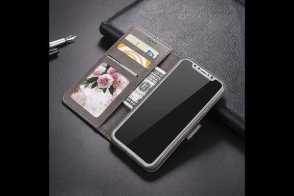 Bridge94-iPhone-Xs-Max-Flip-Leder-Etui-Magnetverschluss-Kreditkartenfaecher-Standfunktion-grau-2
