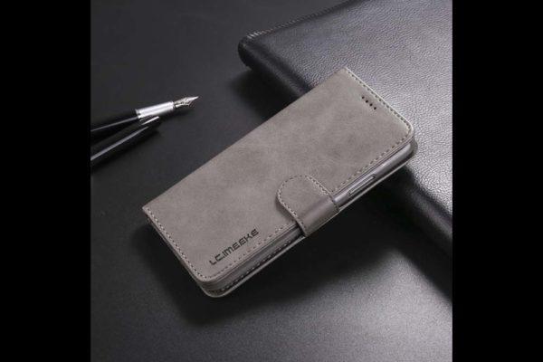 Bridge94-iPhone-Xs-Max-Flip-Leder-Etui-Magnetverschluss-Kreditkartenfaecher-Standfunktion-grau