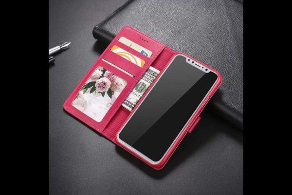 Bridge94-iPhone-Xs-Max-Flip-Leder-Etui-Magnetverschluss-Kreditkartenfaecher-Standfunktion-rot-2