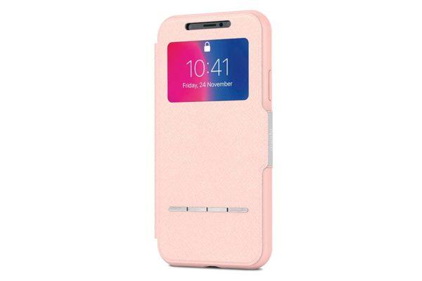 Moshi-SenseCover-Folio-Sichtfenster-Magnetverschluss-Folie-Display-iPhone-X-Xs-Luna-Pink