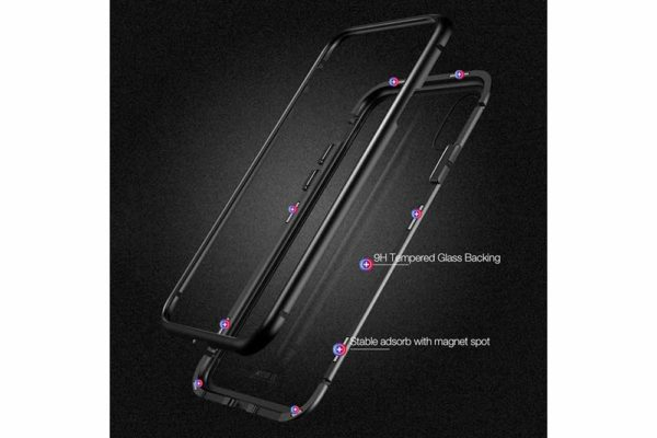 Bridge94-iPhone-6-6s-7-8-Plus-Xs-Max-Xr-magnetisch-haftend-Metal-Flip-Case-gehärtetes-Glas-10