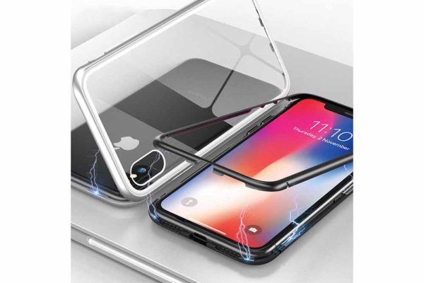 Bridge94-iPhone-6-6s-7-8-Plus-Xs-Max-Xr-magnetisch-haftend-Metal-Flip-Case-gehärtetes-Glas-3