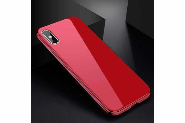 Bridge94-iPhone-6-6s-7-8-Plus-Xs-Max-Xr-magnetisch-haftend-Metal-Flip-Case-gehärtetes-Glas-rot