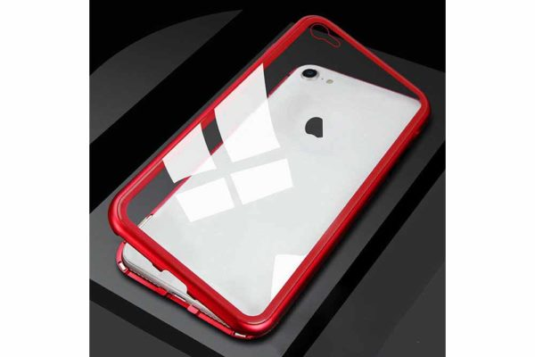Bridge94-iPhone-6-6s-7-8-Plus-Xs-Max-Xr-magnetisch-haftend-Metal-Flip-Case-gehärtetes-Glas-rot-transparent
