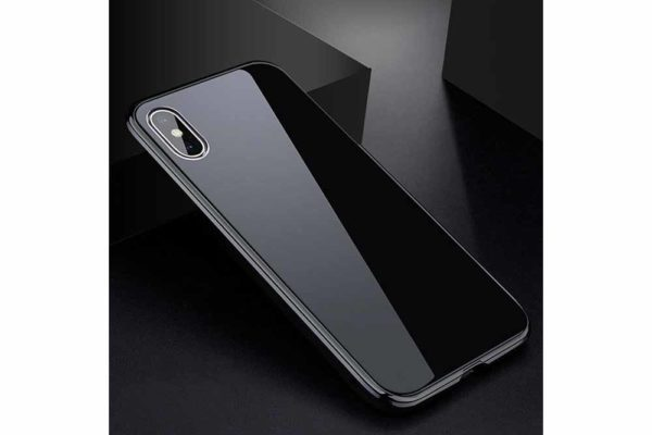 Bridge94-iPhone-6-6s-7-8-Plus-Xs-Max-Xr-magnetisch-haftend-Metal-Flip-Case-gehärtetes-Glas-schwarz