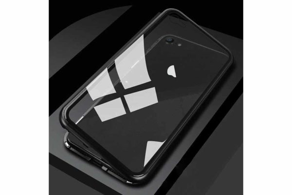 Bridge94-iPhone-6-6s-7-8-Plus-Xs-Max-Xr-magnetisch-haftend-Metal-Flip-Case-gehärtetes-Glas-schwarz-transparent