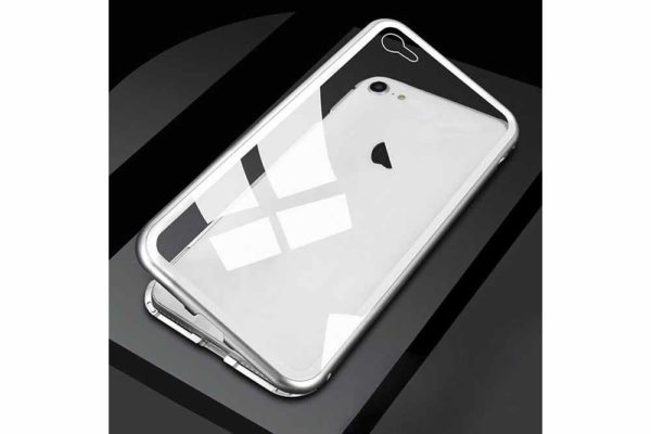 Bridge94-iPhone-6-6s-7-8-Plus-Xs-Max-Xr-magnetisch-haftend-Metal-Flip-Case-gehärtetes-Glas-silber-transparent