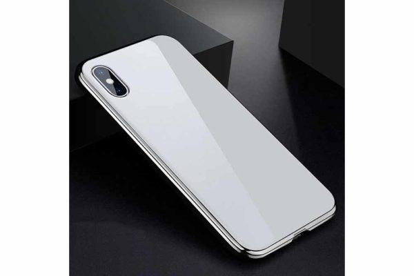 Bridge94-iPhone-6-6s-7-8-Plus-Xs-Max-Xr-magnetisch-haftend-Metal-Flip-Case-gehärtetes-Glas-silber-weiss