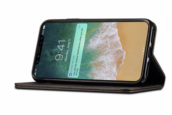 Mobiletto-iPhone-X-Xs-PREMIUM-Bookcase-Magnetclip-Kartenfächer-schwarz-3