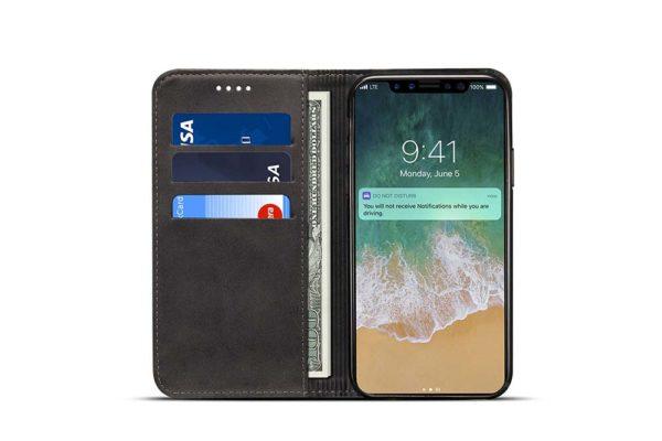 Mobiletto-iPhone-X-Xs-PREMIUM-Bookcase-Magnetclip-Kartenfächer-schwarz-4