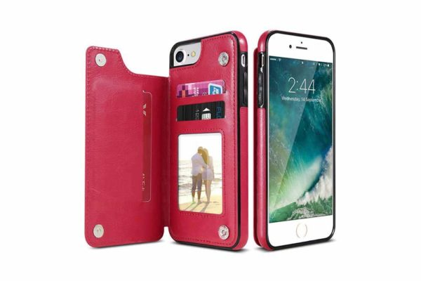Bridge94-Retro-PU-Leder-Case-Huelle-Kartenhalter-Abdeckung-iPhone-X-6-s-7-8-Plus-XS-XR-rot