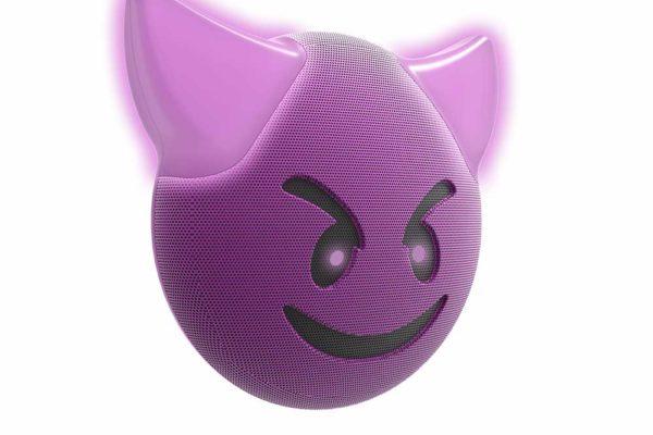 HMDX-JAM-Jamoji-V2-trouble-Bluetooth-Lautsprecher-lustiger-Emoticon-Form-Lichteffekten-Purple