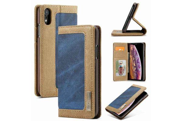 CaseMe-iPhone-Xr-Canvas-Etui-Case-Kreditkarten-Magnetverschluss-blau-2