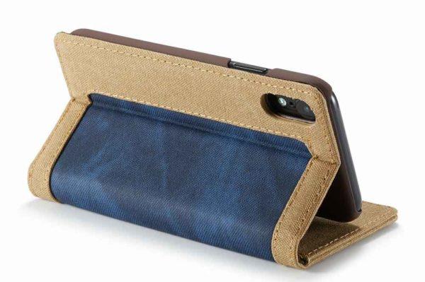 CaseMe-iPhone-Xr-Canvas-Etui-Case-Kreditkarten-Magnetverschluss-blau-3