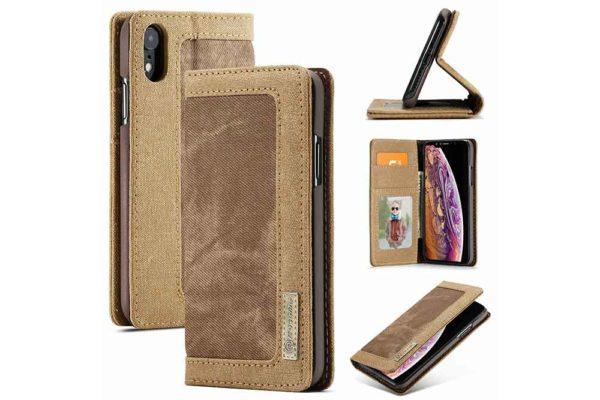 CaseMe-iPhone-Xr-Xs Max-Canvas-Etui-Case-Kreditkarten-Magnetverschluss-braun-2