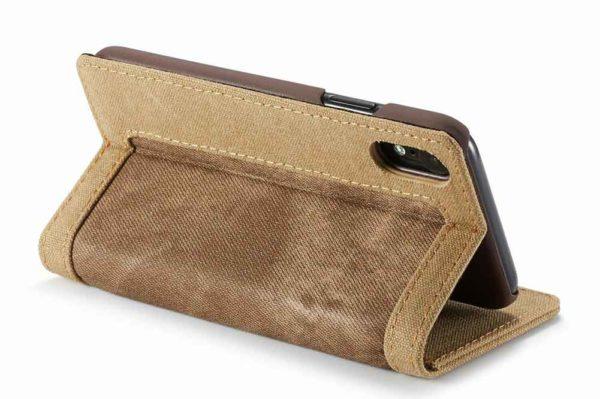 CaseMe-iPhone-Xr-Xs Max-Canvas-Etui-Case-Kreditkarten-Magnetverschluss-braun-3