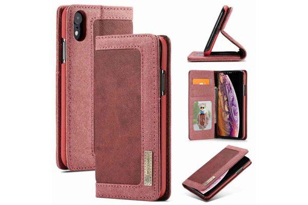 CaseMe-iPhone-Xr-Canvas-Etui-Case-Kreditkarten-Magnetverschluss-rot-2