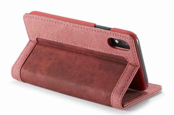 CaseMe-iPhone-Xr-Canvas-Etui-Case-Kreditkarten-Magnetverschluss-rot-3