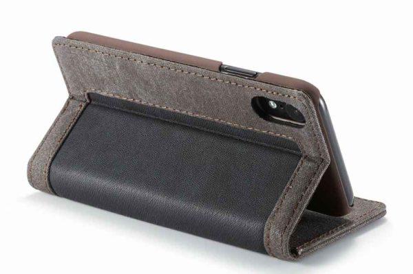 CaseMe-iPhone-Xr-Canvas-Etui-Case-Kreditkarten-Magnetverschluss-schwarz-3