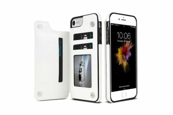 Bridge94-Retro-PU-Leder-Case-Huelle-Kartenhalter-Abdeckung-iPhone-X-6-s-7-8-Plus-XS-XR-weiss