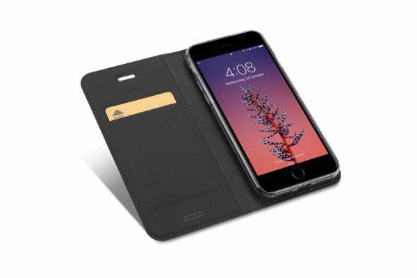 Nevox Vario Series-iPhone-8-7-Booktasche-Kreditkartenfach-magent-basaltgrau