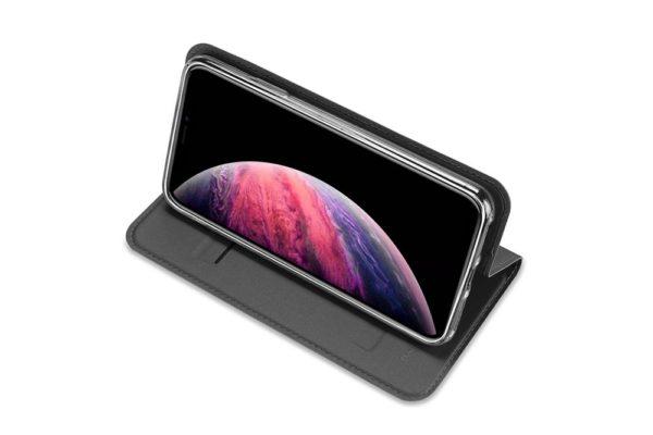 Nevox Vario Series-iPhone-11-Booktasche-Kreditkartenfach-magent-basaltgrau-1