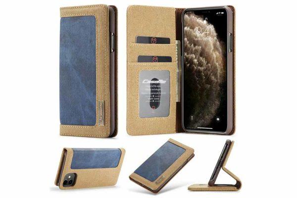 CaseMe-iPhone-11-Pro-Canvas-Etui-Case-Kreditkarten-Magnetverschluss-braun-blau