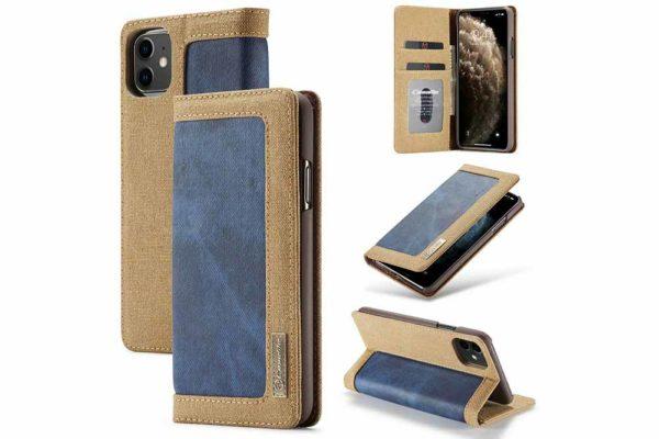 CaseMe-iPhone-11-Pro-Canvas-Etui-Case-Kreditkarten-Magnetverschluss-stand-2