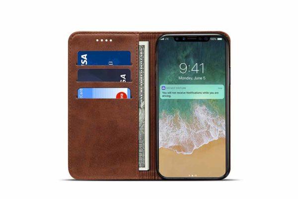 Mobiletto-iPhone-X-XS-Siena-Vintage-Hülle-Kreditkartenfächern-Standfunktion-braun-3