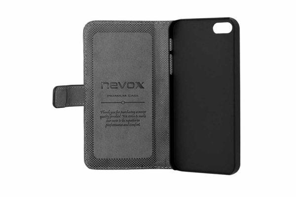 Nevox-ORDO-iPhone-SE-5S-5-Booktasche-schwarz-grau