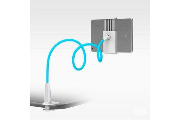 Tisch-Bett-Klemm-Ständer-Halter-Halterung-iPad-Tablet-Flexibler-Arm-hellblau