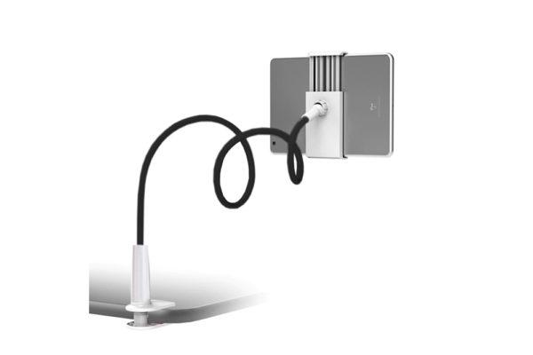 Tisch-Bett-Klemm-Ständer-Halter-Halterung-iPad-Tablet-Flexibler-Arm-schwarz-weiss