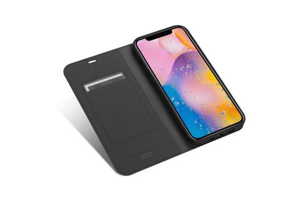 Nevox Vario Series-iPhone-12-Pro-Booktasche-Kreditkartenfach-magent-basaltgrau-1