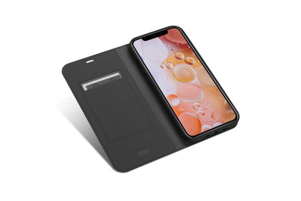 Nevox Vario Series-iPhone-12-mini-Booktasche-Kreditkartenfach-magent-basaltgrau-1