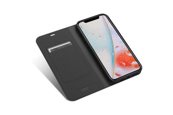 Nevox Vario Series-iPhone-12-Pro-Max-Booktasche-Kreditkartenfach-magent-basaltgrau-1